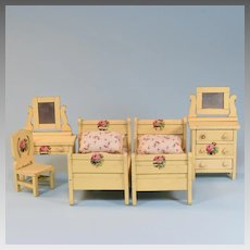 "5 Pc. Schoenhut Dollhouse Bedroom Suite - Cream 1928 3/4"" Scale"
