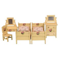 "5 Pc. Schoenhut Dollhouse Bedroom Suite - Cream 1928 3/4"" Scale"