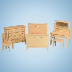 """5 Pc. Enameled Wood Dollhouse Bedroom Suite 1920s – 1930s Large 1"""" Scale"""