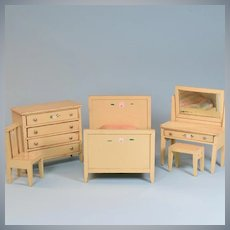 "5 Piece Enameled Wood Dollhouse Bedroom Set  1920s – 1930s Large 1"" Scale"