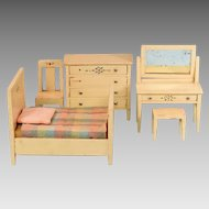 "5 Pc. Painted Wood Dollhouse Bedroom Set 1920s – 1930s Large 1"" Scale"