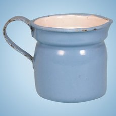 Antique German Miniature Blue Enamelware Tin Pitcher for Doll Kitchen Early 1900s