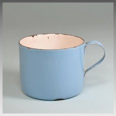 Antique German Miniature Blue Enamelware Tin Cup for Doll Kitchen Early 1900s