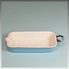 Antique German Miniature Blue Enamelware Tin Roasting Pan for Doll Kitchen Early 1900s