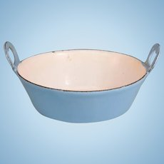 Antique German Miniature Blue Enamelware Tin Pan for Doll Kitchen Early 1900s