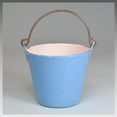 Antique German Miniature Blue Enamelware Tin Bucket or Pail for Doll Kitchen Early 1900s