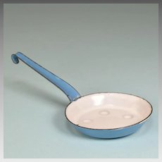 Antique German Miniature Blue Enamelware Tin Egg Pan with Long Handle for Doll Kitchen Early 1900s