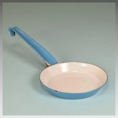 Antique German Miniature Blue Enamelware Tin Frying Pan with Long Handle for Doll Kitchen Early 1900s