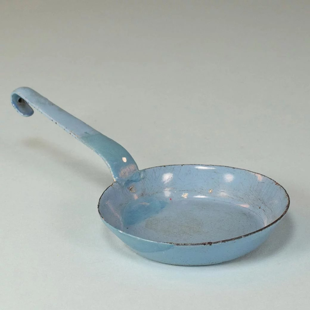 Antique German Miniature All Blue Enamelware Tin Frying Pan for Doll ...