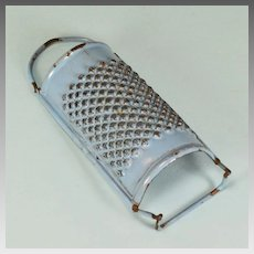 Antique German Miniature Blue Enamelware Tin Grater for Doll Kitchen Early 1900s