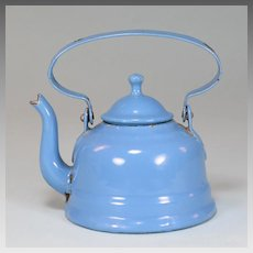 Antique German Miniature Blue Enamelware Tin Tea Pot for Doll Kitchen Early 1900s