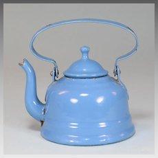 Antique German Miniature Blue Enamelware Tin Tea Pot for Doll Kitchen Early 1900s