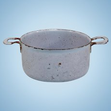 Antique German Miniature Blue Graniteware Tin Pot for Doll Kitchen Early 1900s