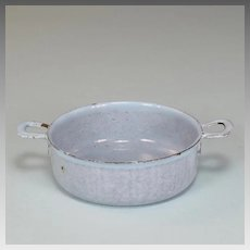 Antique German Miniature Blue Graniteware / Enamelware Tin Pot for Doll Kitchen Early 1900s
