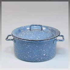Antique German Miniature Blue Enamelware / Spatterware Tin Pot for Doll Kitchen Early 1900s