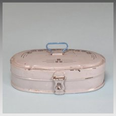 Antique German Oval Stenciled Tin Bread Box for Doll Kitchen Early 1900s