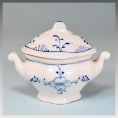 Antique German Miniature Blue Onion Porcelain Soup Tureen Doll Size Early 1900s