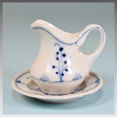 Antique German Miniature Blue Onion Porcelain Bowl and Pitcher Doll Size Early 1900s
