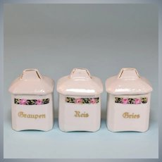 Antique Miniature German Porcelain Canisters Set of 3 Doll Size Early 1900s