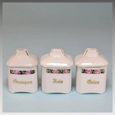 Set of 3 Antique Miniature German Porcelain Canisters Doll Size Early 1900s