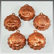 """Five Miniature Vintage Copper Clad Molds Large 1"""" Scale"""