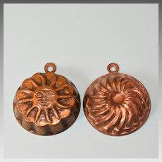 """Two Miniature Vintage Copper Clad Molds - Sun and Swirl Large 1"""" Scale"""