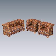 "Antique Dollhouse Miniature Sofa Set 1920s - 1930s 1"" Scale"