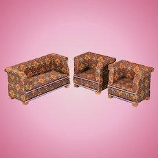 """Antique Dollhouse Miniature Sofa Set 1920s - 1930s 1"""" Scale"""