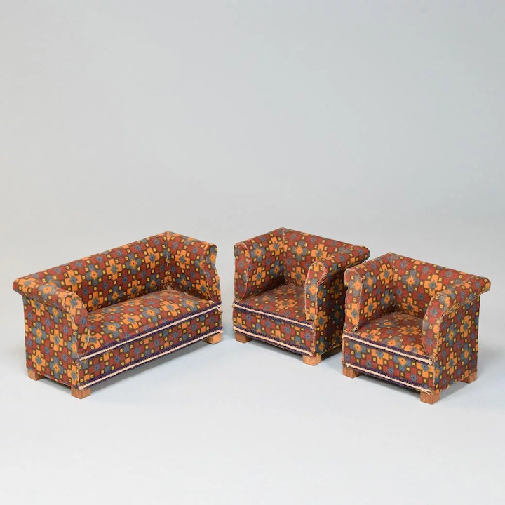 Awesome Antique Dollhouse Sofa Set 1920S 1930S 1 Scale Ncnpc Chair Design For Home Ncnpcorg