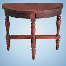 "German Red Stained Dollhouse Demilune Side Table 1910 - 1920s 1"" Scale"
