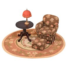 """Vintage Dollhouse Table and Chair Group 1"""" Scale"""