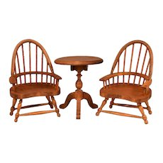 """German Dollhouse Windsor Arm Chairs and Tilt Top Table 1910 - 1920s 1"""" Scale"""