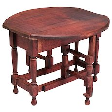 """German Dollhouse Red Stain Gate Leg Table 1910 - 1920s Large 1"""" Scale"""