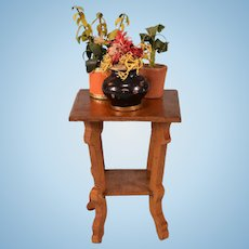 """Antique Dollhouse Side Table with 3 Plants Early 1900s Large 1"""" Scale"""