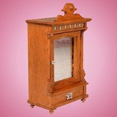 "Antique German Dollhouse Oak Linen Cabinet Late 1800s 1"" Scale"
