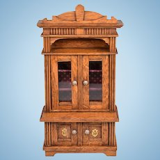 """Antique German Dollhouse Oak China Cabinet Late 1800s Large 1"""" Scale"""