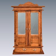 "Antique German Dollhouse Oak Wardrobe Late 1800s Large 1"" Scale"