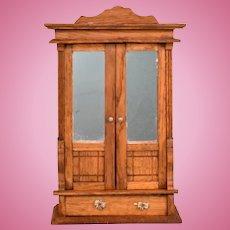 """Antique German Dollhouse Oak Wardrobe Late 1800s Large 1"""" Scale"""