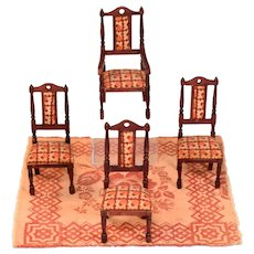 """Set of 4 Miniature German Red Stain Dining Chairs Late 1930s - 1940s 1"""" Scale"""