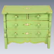 "Miniature Tynietoy Chest of Drawers Green Enamel 1920s – 1930s 1"" Scale"