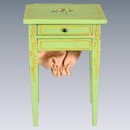 """Miniature Tynietoy Sewing Stand Green 1920s – 1930s 1"""" Scale"""