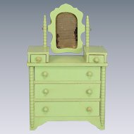 "Miniature Tynietoy Spool Dresser Green 1920s – 1930s 1"" Scale"