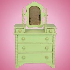 """Miniature Tynietoy Spool Dresser Green 1920s – 1930s 1"""" Scale"""