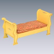 "Miniature Tynietoy Empire Sleigh Bed Yellow 1920s- 1930s 1"" Scale"