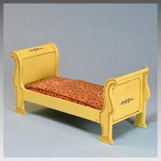 "Yellow Enamel Tynietoy Empire Sleigh Bed 1920s- 1930s 1"" Scale"