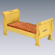 "Yellow Enamel Tynietoy Empire Sleigh Bed 1920s- 1930s 1"" Scale"