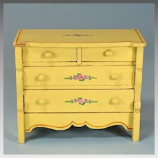 "Miniature Tynietoy Chest of Drawers Yellow Enamel 1920s – 1930s 1"" Scale"