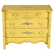 """Miniature Tynietoy Chest of Drawers Yellow Enamel 1920s – 1930s 1"""" Scale"""