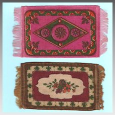 Two Antique Dollhouse Tobacco Felt Rugs Early 1900s