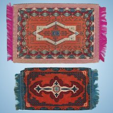 Two Antique Dollhouse Miniature Tobacco Felt Rugs Early 1900s